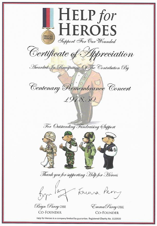 Help For Heroes Certificate of Appreciation